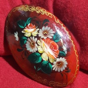 Vintage Russian hand-painted wooden brooch